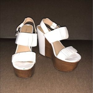 Via Spiga White Wood Platform Wedge Sandals